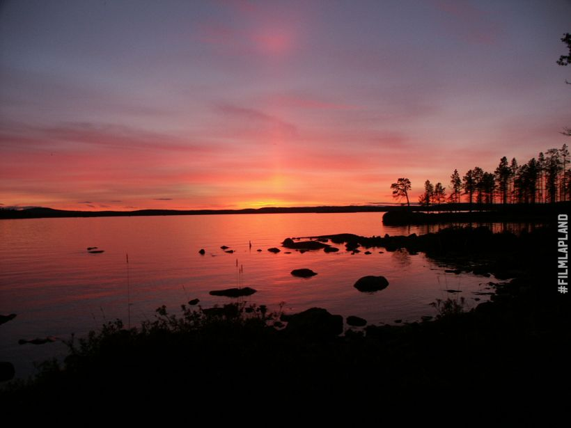 Sunset over Lake Inari in Finland