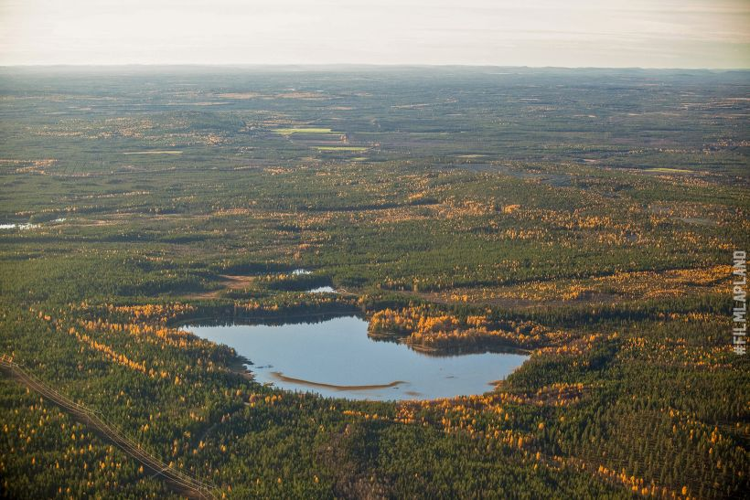 Lakes and fields around Rovaniemi, Finland in autumn