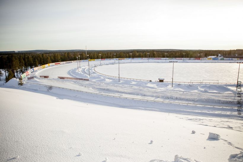 Snowmobile race track in Rovaniemi, Finland
