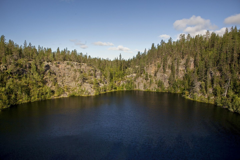 Deep lake in wilderness in Kolari, Lapland