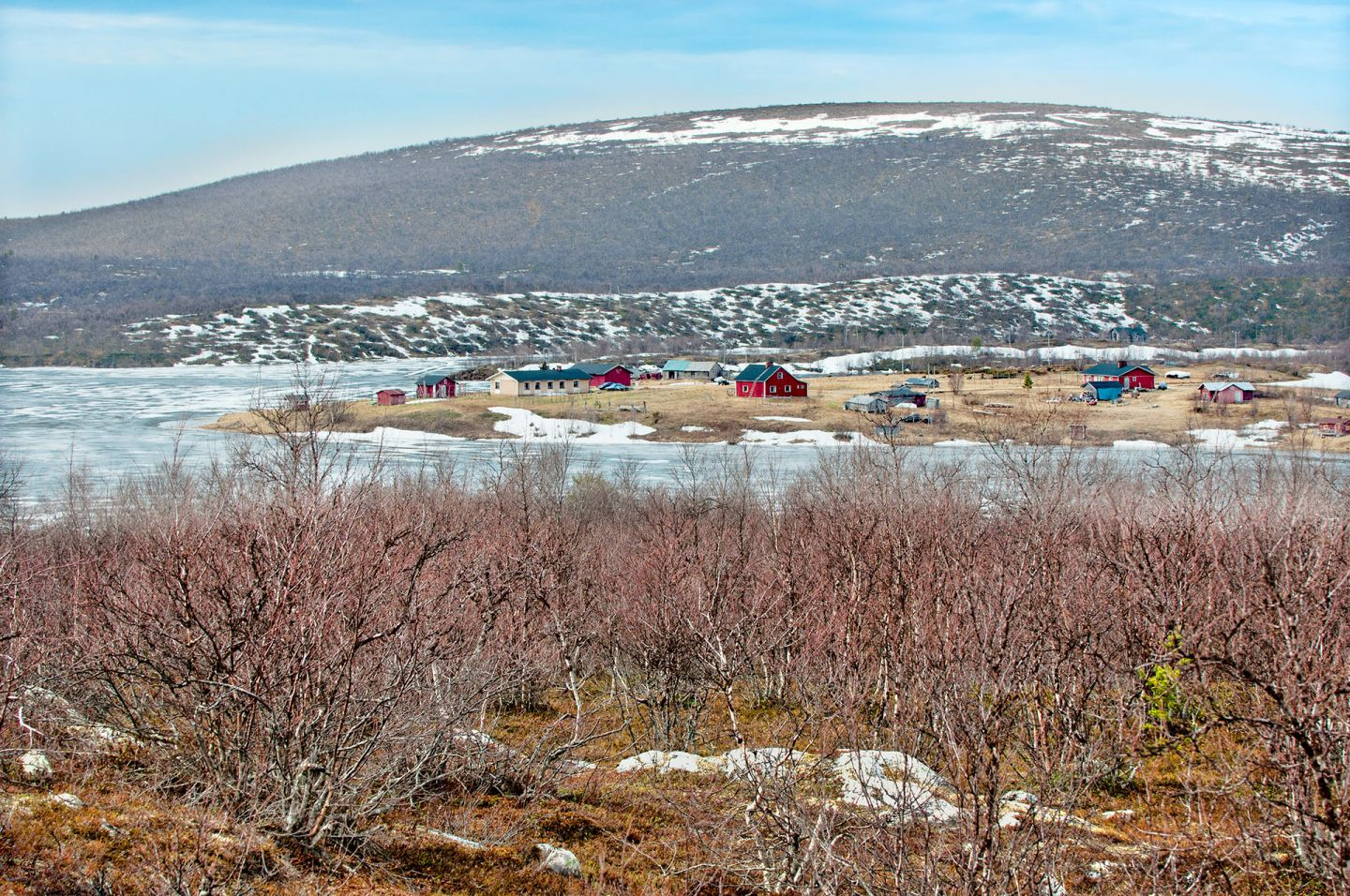 Small arctic village on a spring in Enontekiö, Lapland