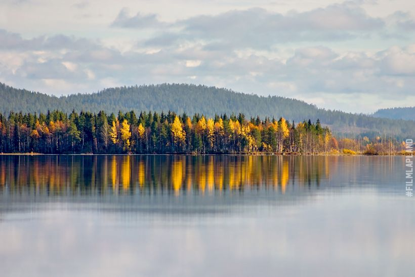 lake, forest and fell in Kemijärvi, Finland in autumn