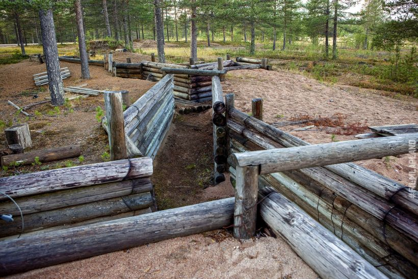 wooden war fortification in Rovaniemi, Finland