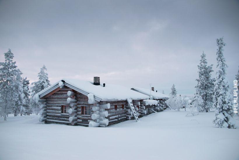 Snowy log cabin in Inari, Finland