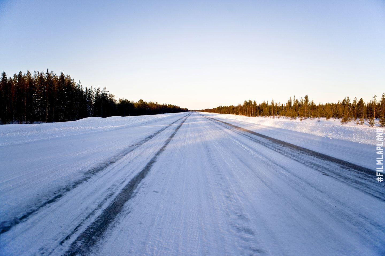 Arctic highway in Lapland, Finland