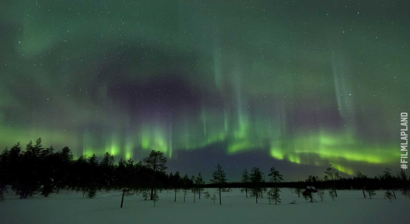 Northern Lights over a frozen bog in Rovaniemi, Finland