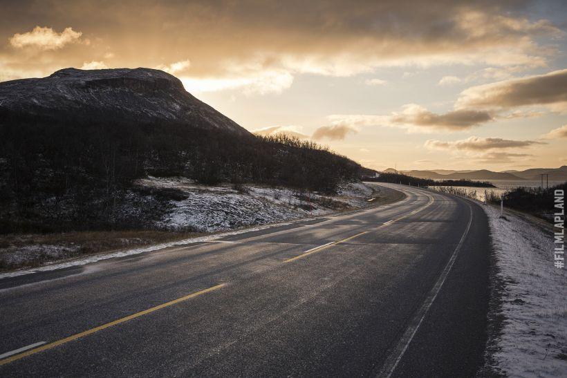 Frozen highway in Enontekiö, Arctic Lapland