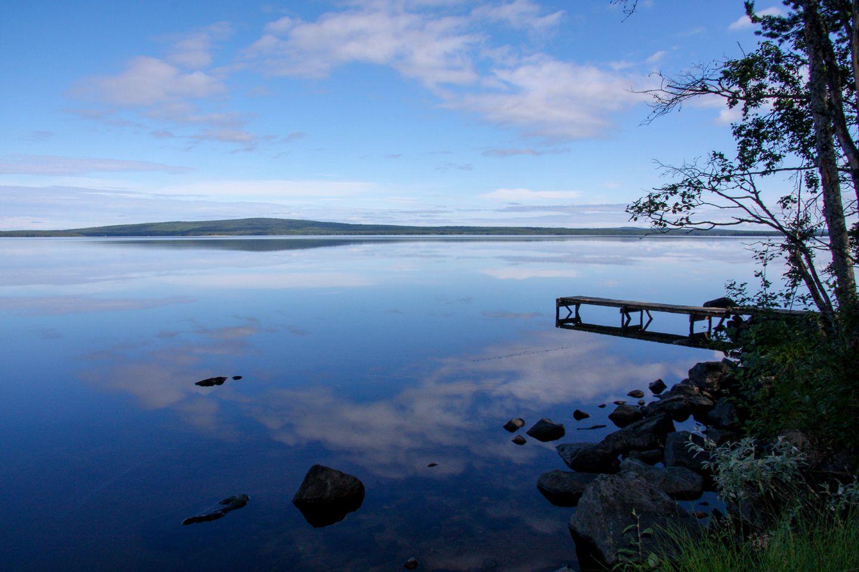 Peaceful lake named Kitkajärvi, in Posio