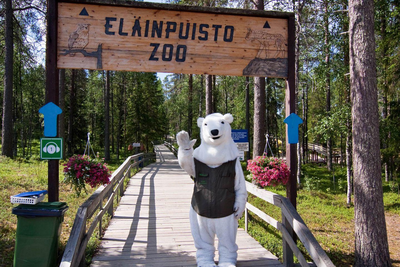 Polar bear mascot welcoming to Ranua zoo, Lapland