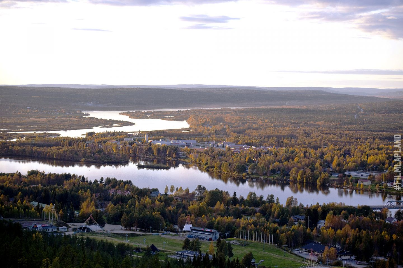 Aerial view of Ounasjoki in Rovaniemi, Finland