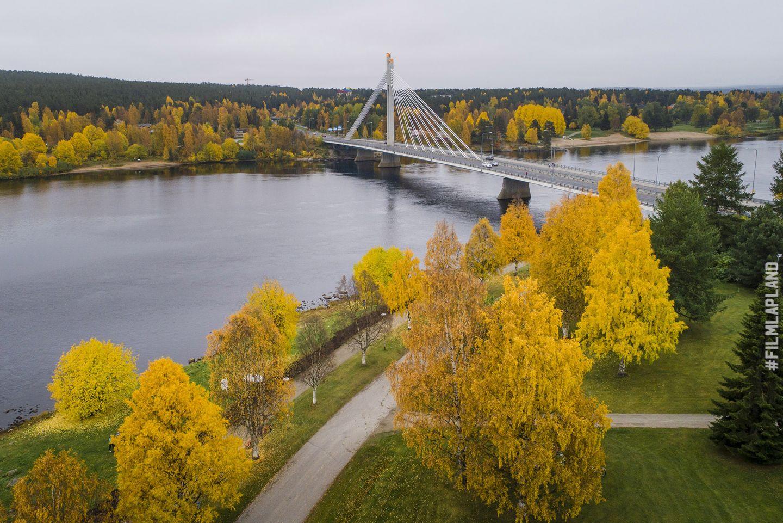 Lumberjack Candle Bridge in Rovaniemi, Finland in autumn