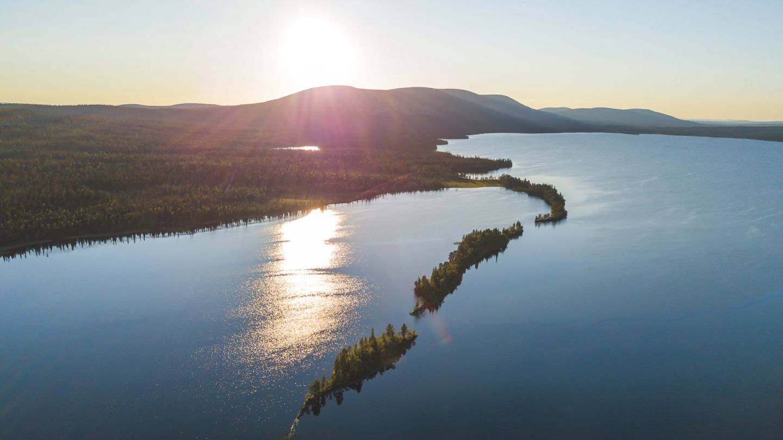 summer lake in sunset