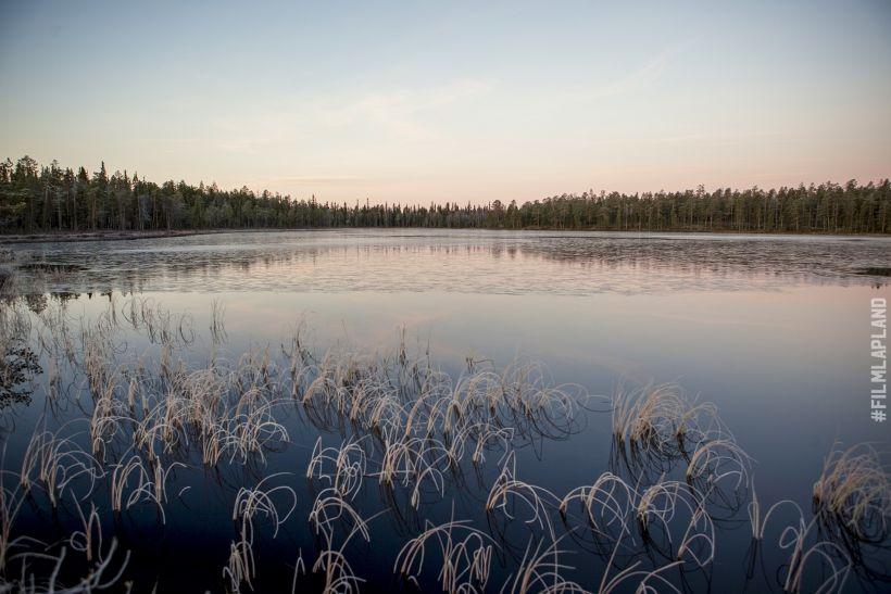 Frosty waters of Lake Rovajärvi in Rovanieemi, Finland