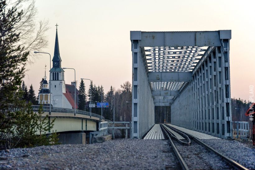 Train bridge & church in Kemijärvi, Finland