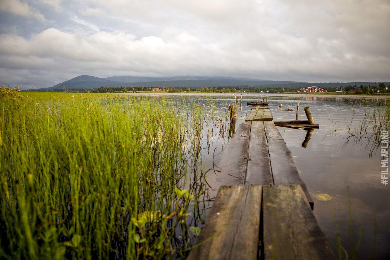 Duckboards through a lake in Ylläs, Kolari, Finland