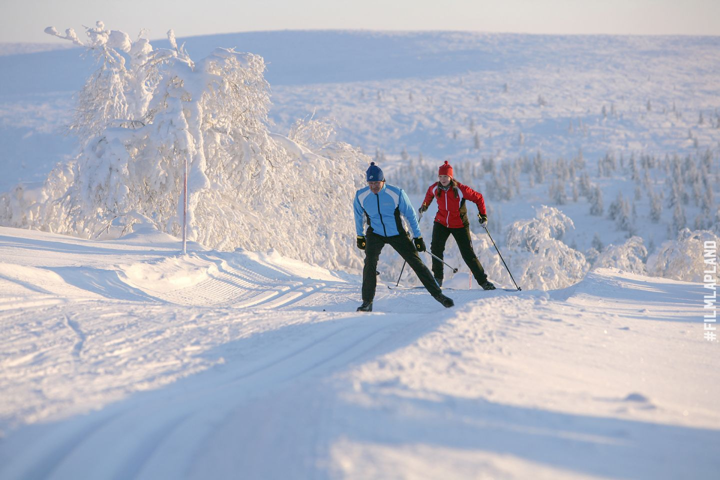 Skiing on a hill in Inari, Lapland