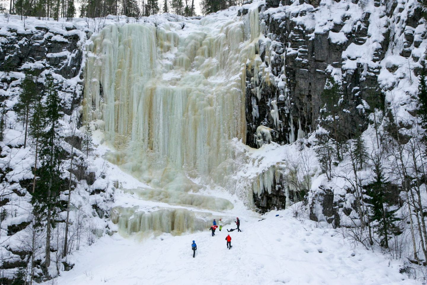 Huge frozen waterfall in Posio, Finnish Lapland