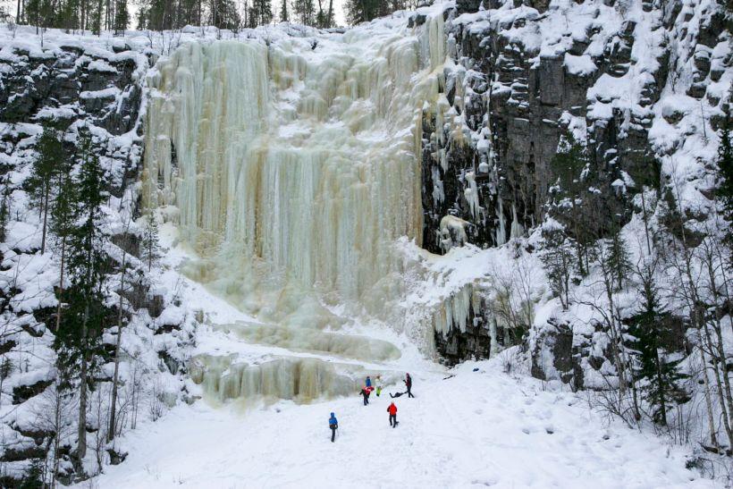 Huge frozen waterfall in Posio, Finnish Lapland