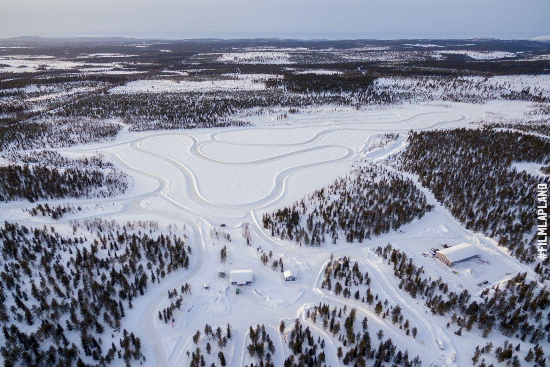 Snow driving tracks in Kittilä, Finland
