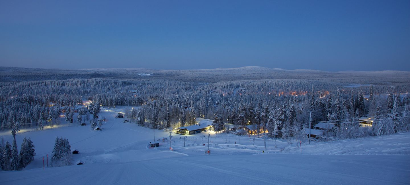 Salla ski resort surrounded by polar night in Salla, Lapland
