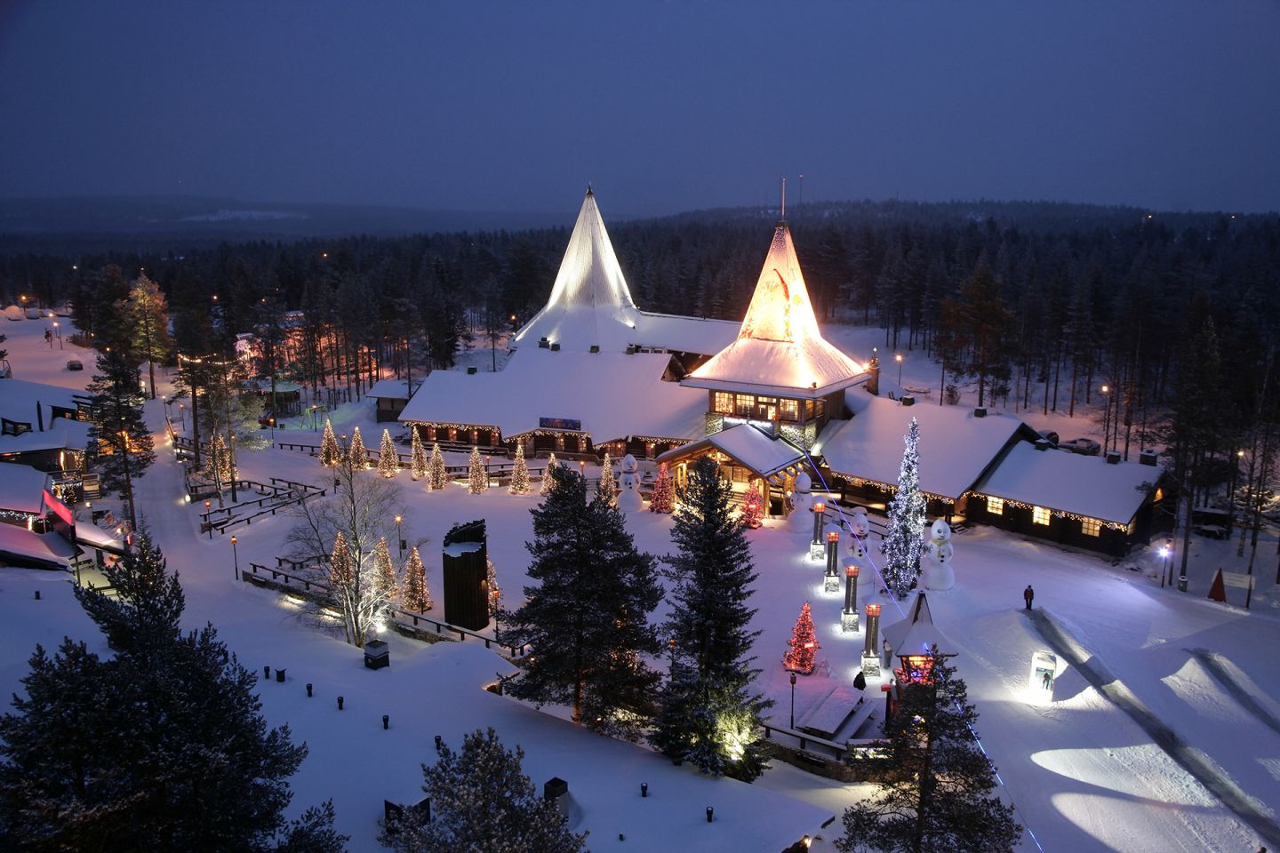 Santa Claus Village at night in Arctic Circle in Rovaniemi, Finland