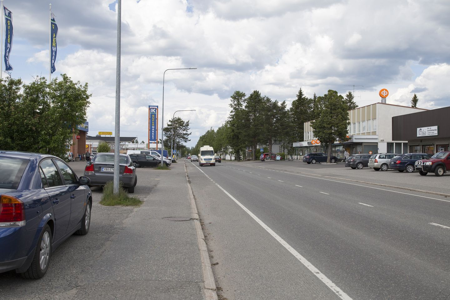 Main street in the arctic city center in Kittilä Lapland
