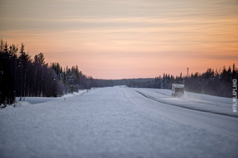 Snow covered highway in Arctic Lapland