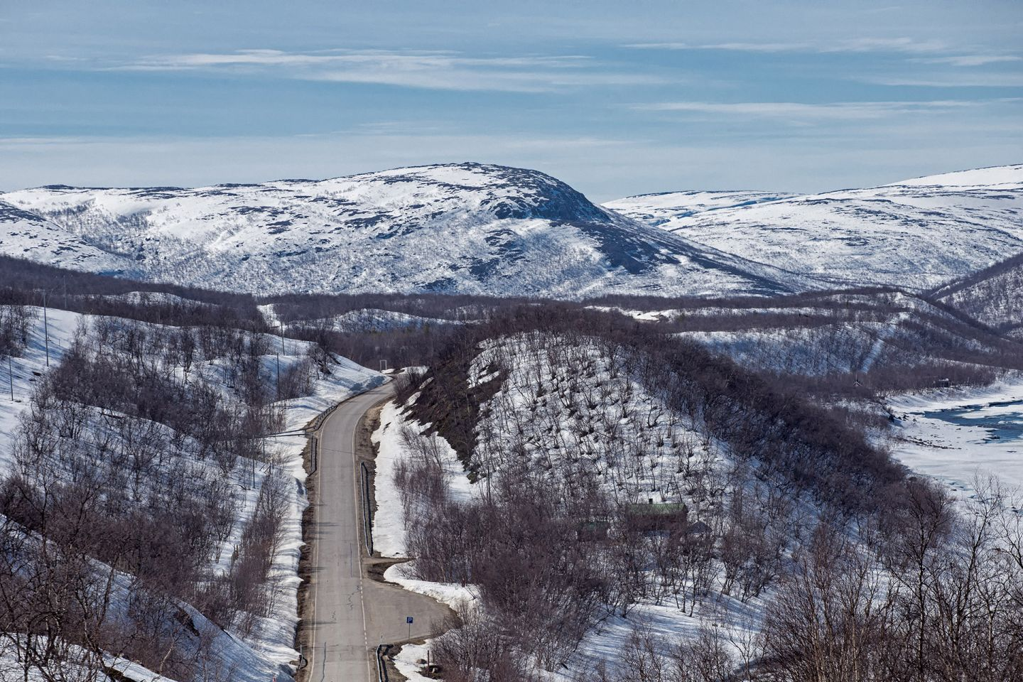 Empty street in the middle of arctic nature in Utsjoki, Lapland