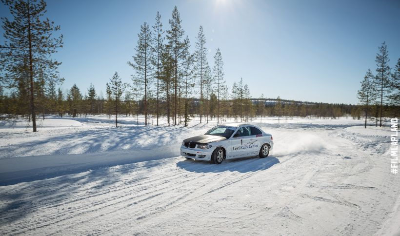 Snow driving in a daylight in Lapland