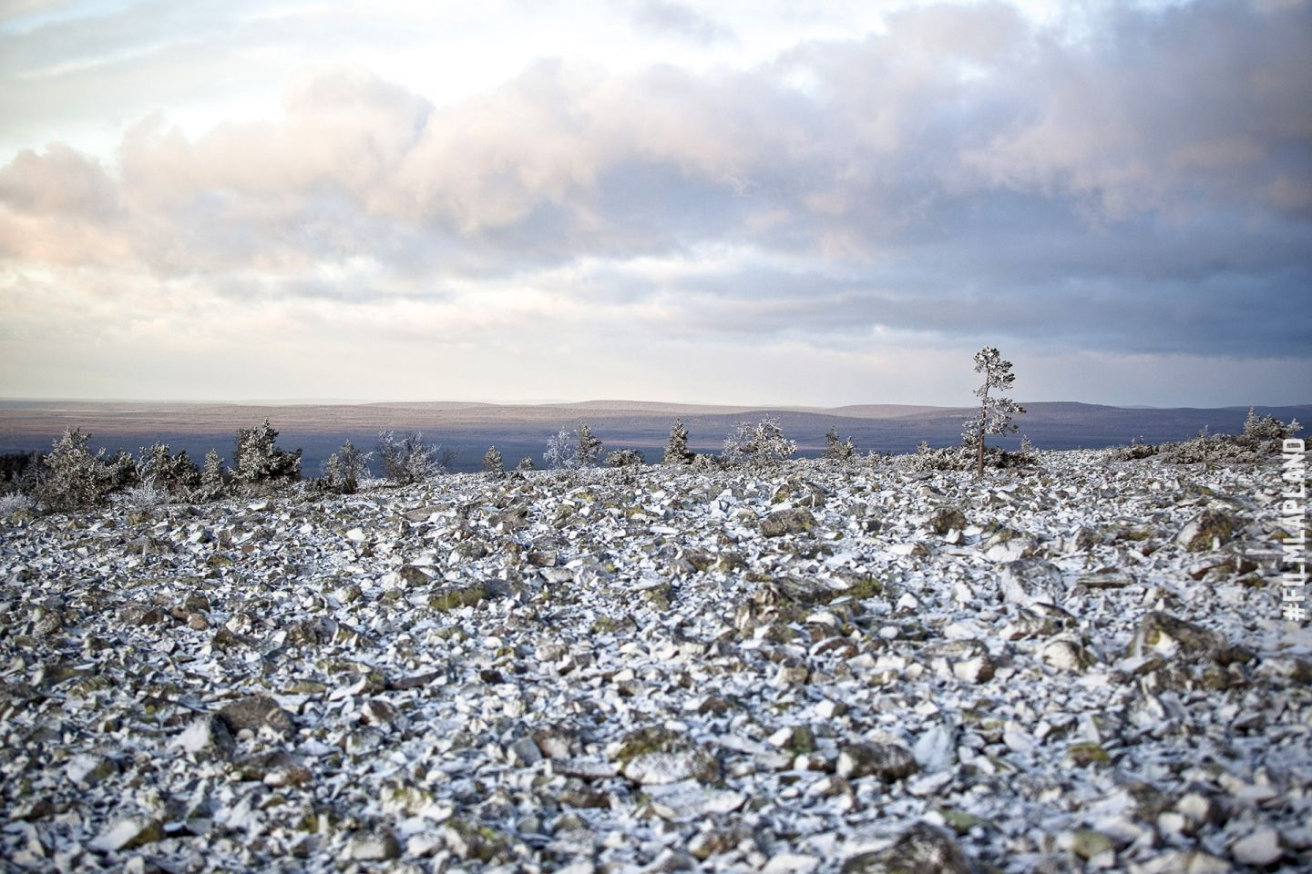 Snow-dusted stone field in Pelkosenniemi, Finland