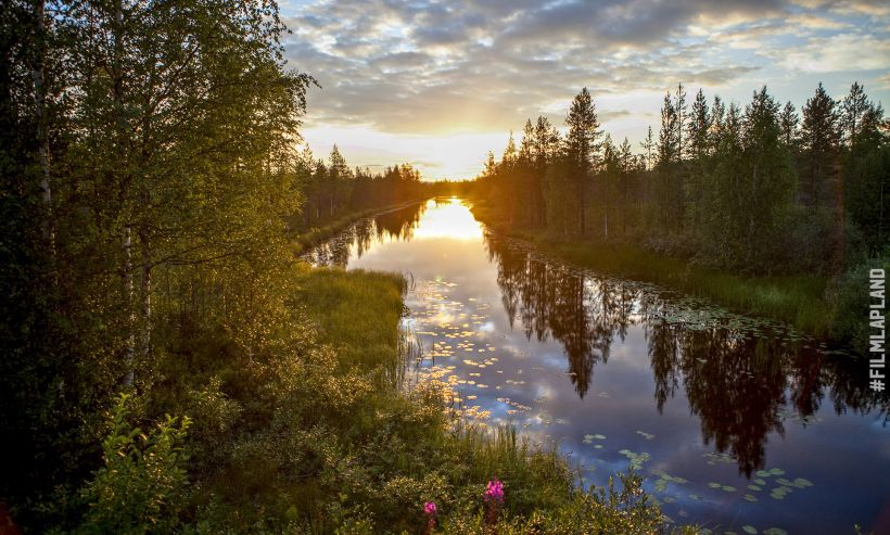Summer sunset over river in Rovaniemi Finland