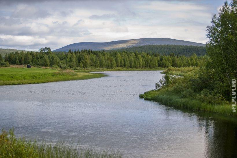 River through a forest in Ylläs, Kolari, Finland