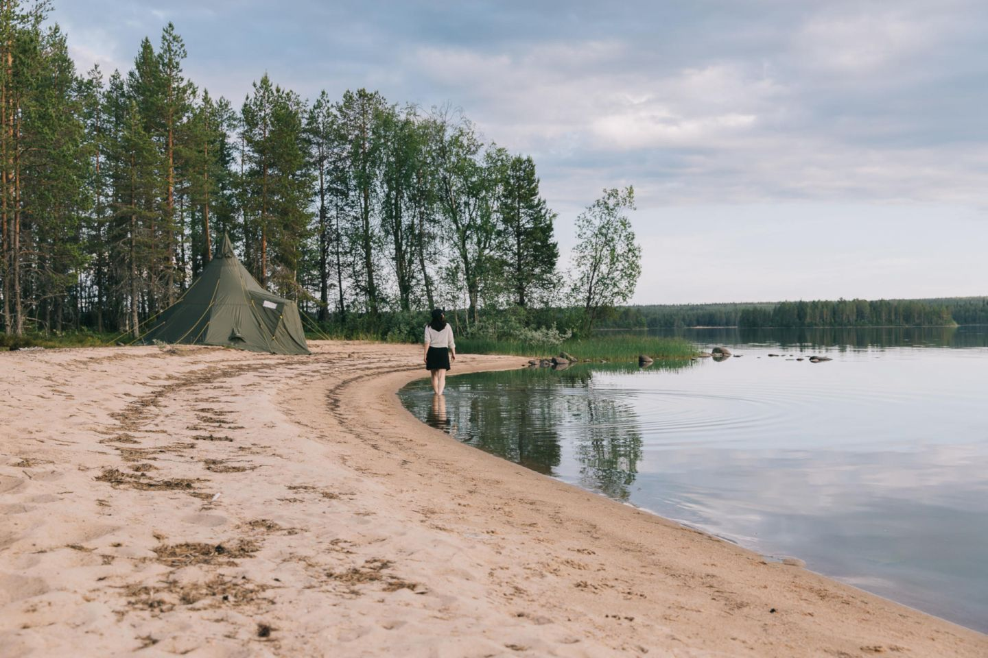 A lonely beachgoer in Posio, Finland