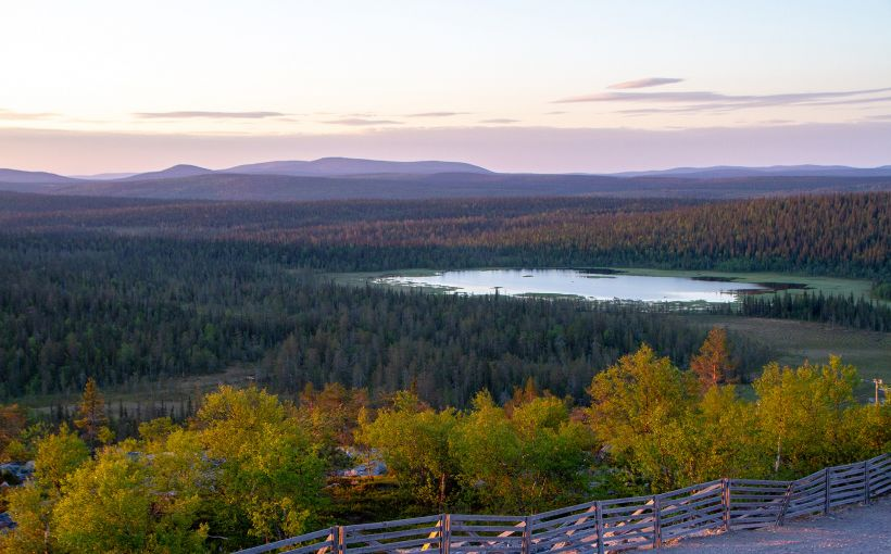 Arctic fell bathing in sunset in Salla, Lapland