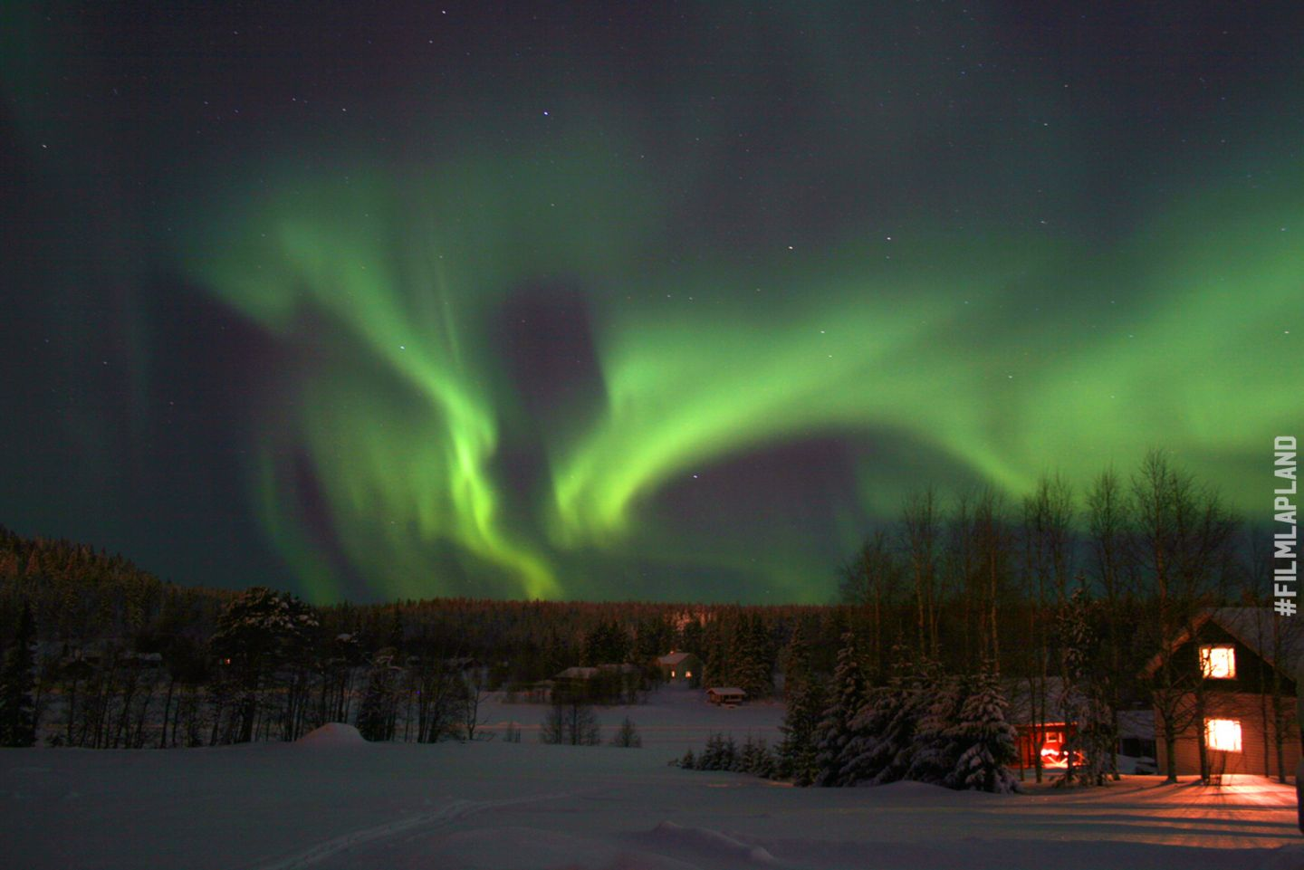 Northern Llights over a forest in Levi, Finland