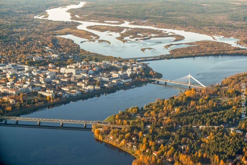 aerial of Rovaniemi, Finland in autumn