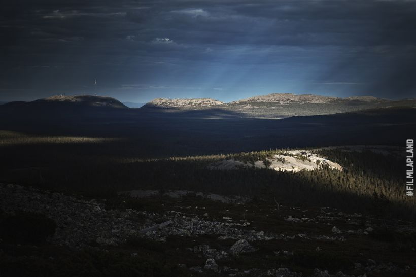 Dark shadows and beams of light over Arctic forest in Sodankylä, Finland