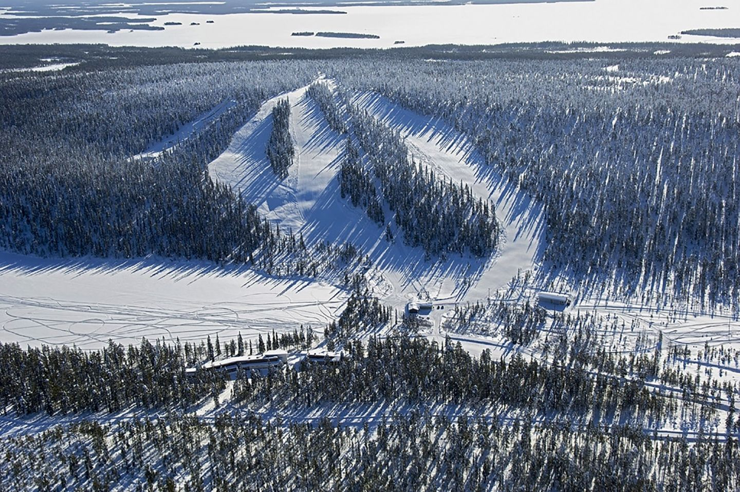 Aerial view of ski center in Kirintövaara, Posio