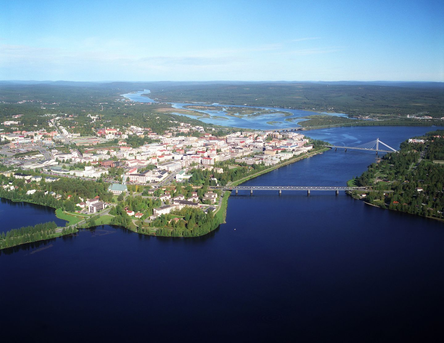 Aerial view of Rovaniemi city centre in summer