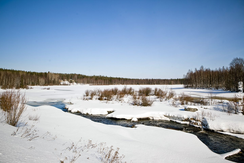 Frozen river in Rovaniemi, Finland