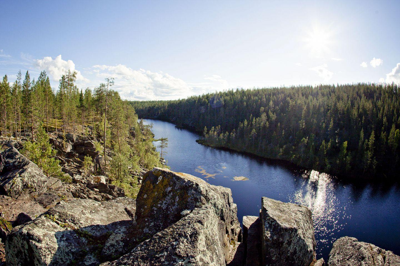 Blue water in canyon in Sodankylä, Lapland