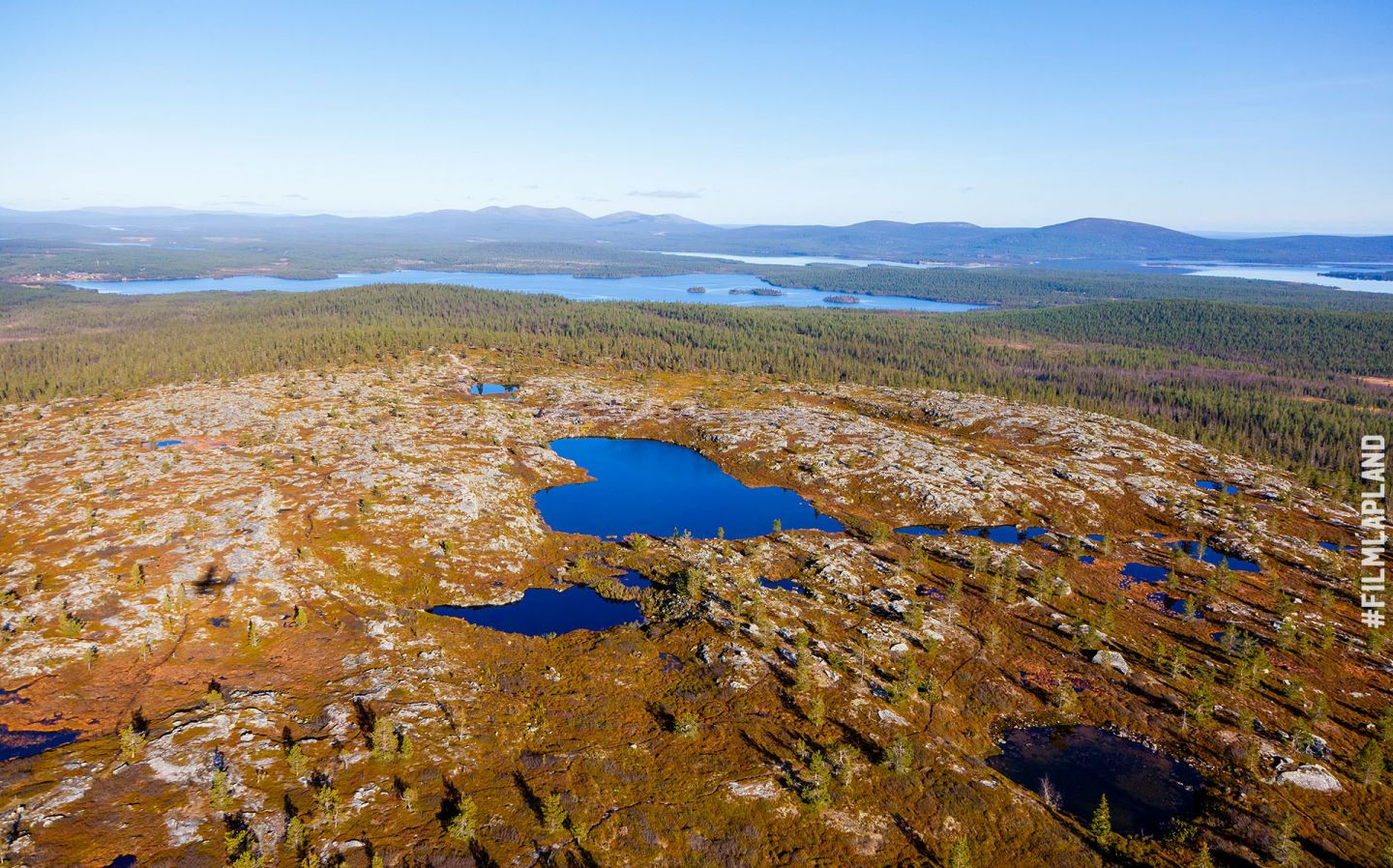 Aerial of Arctic wilderness in Muonio, Finland