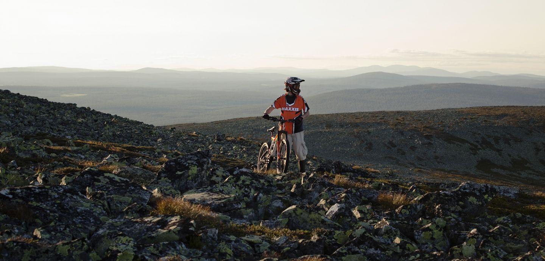 Mountain biking on a stone field in Kolari, Lapland