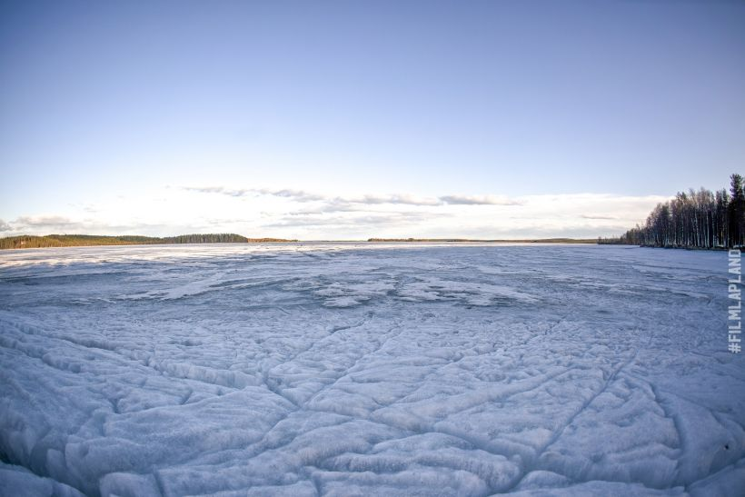Frozen Lake Olkkajärvi in Rovaniemi, Finland
