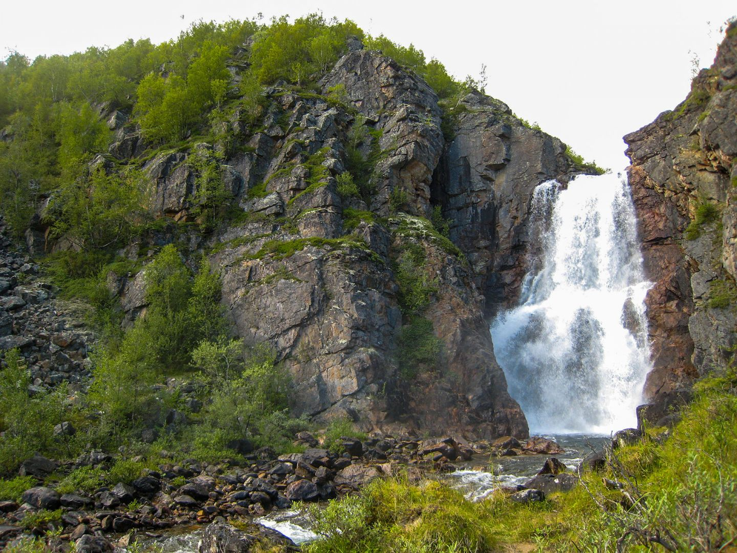 Big arctic waterfall in Kevo Strict Nature Reserve in Utsjoki, Finland