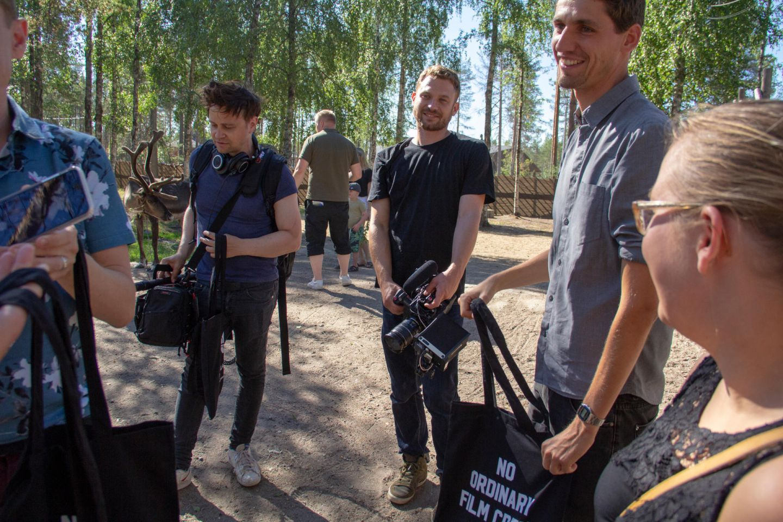 Crew of German reality show at Santa Claus Village in Rovaniemi, Finland