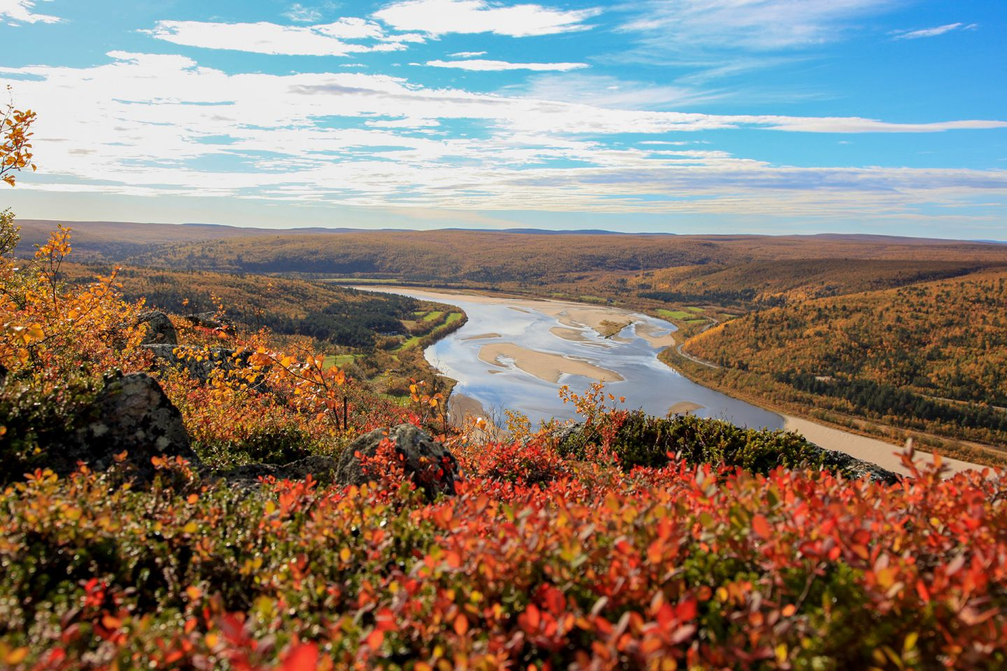 Autumn colors and sand dunes by river in Utsjoki, Finland