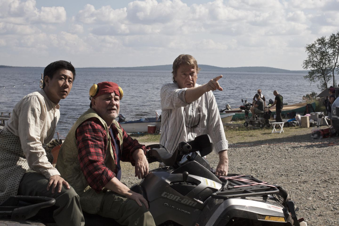 Director and actors on set of Master Cheng, filmed in Lapland