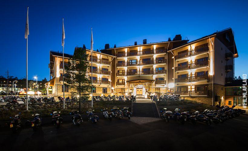 Nordic hotel in a darkening night in Inari, Lapland