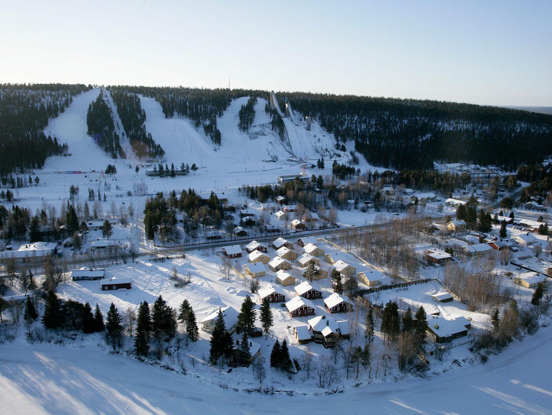 Aerial view of ski center Ounasvaara in Rovaniemi, Finland